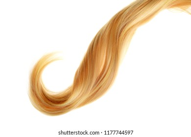 piece of curly blond hair isolated