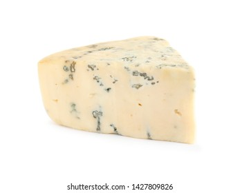 Piece of delicious blue cheese on white background