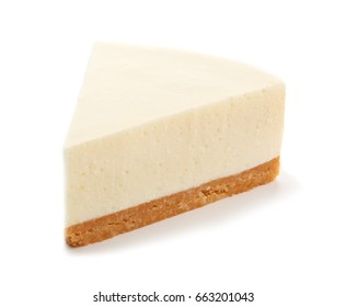 Piece of delicious cheesecake on white background