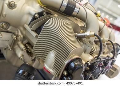 Piece of equipment of the aircraft engine closeup, a aircraft engine detail