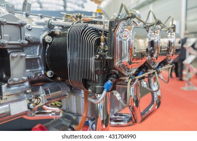 Piece of equipment of the aircraft engine closeup, a aircraft engine detail in the exposition