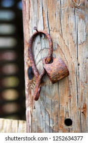A Piece of Farm Equipment Hung on a Rust Nail on a Pole in an Old Pole Barn in a Pasture in South Central Oklahoma