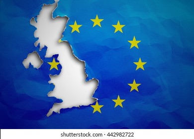 Piece in form of UK borders torn out from the flag of the European Union. United Kingdom withdrawal from the European Union. Brexit concept