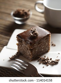 Piece of fresh chocolate cake