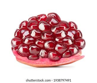 piece of fresh ripe shiny pomegranate isolated on white background
