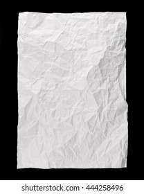Piece of full page white paper background, folded and battered, isolated on black background