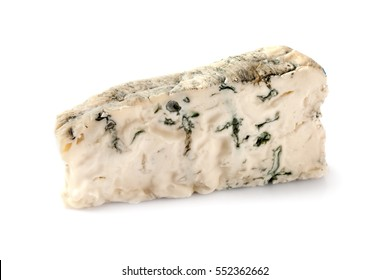 Piece of gorgonzola cheese isolated on white background.