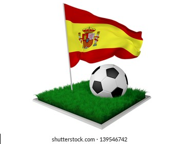 A piece of grass with a ball and an Spanish flag