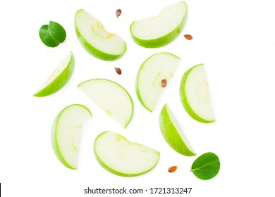 piece of green apple with green leaves isolated on white background. top view