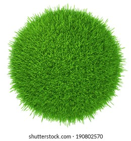 a piece of green lawn. isolated on white background. realistic grass