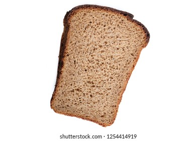 piece of grey bread isolated on white background