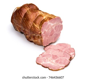 Piece of ham with slices on white background. Meatworks product