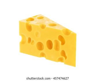 Piece of hard cheese isolated. Swiss or maasdam