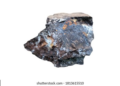 A piece of Hematite stone isolated on a white background. ironstone