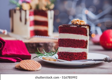 Piece of a homemade red velvet cake on a plate
