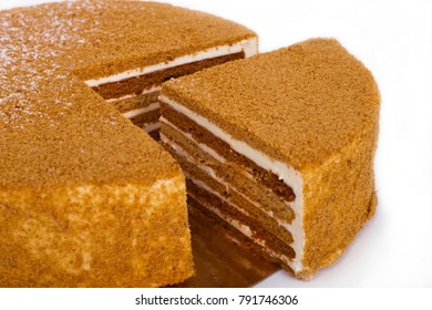 Piece of honey cake closeup