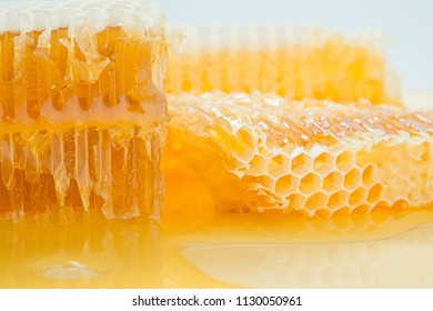 Piece of honeycomb with honey in closeup, healthy products by organic ingredients