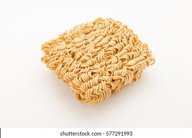 piece of instant noodles on paper white background