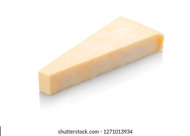 Piece of italian parmesan cheese white isolated