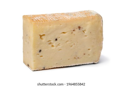Piece of Italian Taleggio Tartufo cheese close up isolated on white background as snack or appetizer