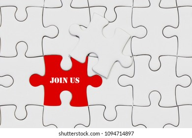 piece of jigsaw puzzle with join us wording for business concept