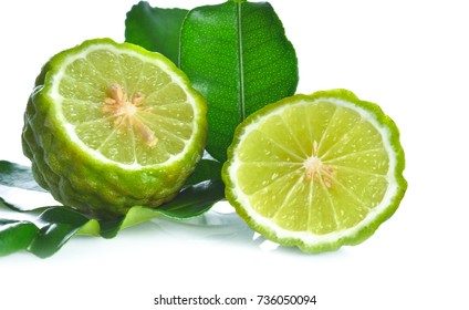 Piece Kaffir lime on white background