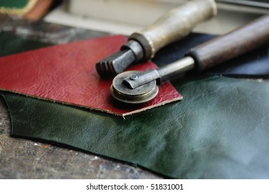 Piece of leather and some tools to work it