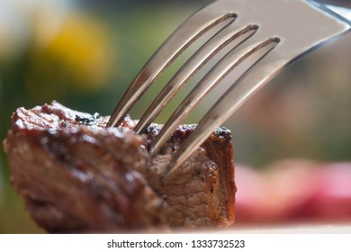 piece of meat on a fork, food concept