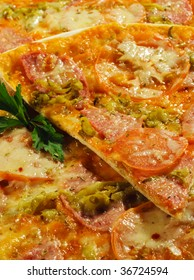 Piece of Meat Pizza with Tomato and Parsley