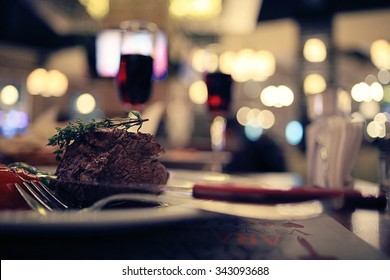 piece of meat in a restaurant