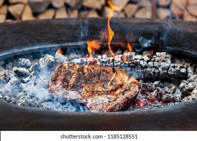 A piece of meat roasted on the coals. Grill, fire.