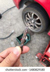 Piece of metal that punctured the rear tyre