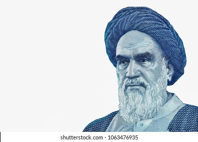 A piece of a money bill showing an important person is named Rouhollah Mousavi Khomeini, Ayatollah Ruhollah Khomeini portrait on Iranian 20000 rial banknote macro, Middle East Iran money close  up