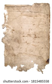 piece of old paper with torn edges on a white background