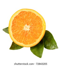 piece of orange and leaves on white  background