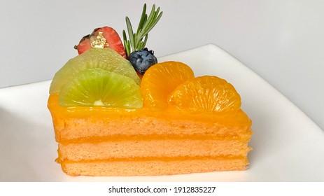 Piece of Orange and mix fruit cake