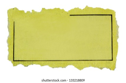 Piece of paper with blank advertisement.