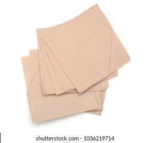 Piece paper napkin brown isolated on white