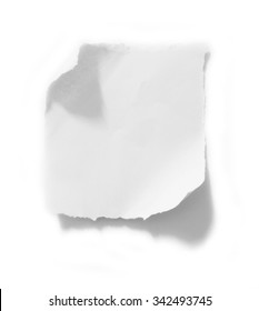A piece of paper on white isolated on white background with copy space