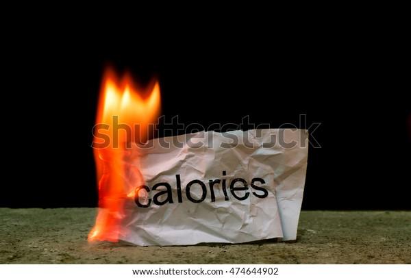 Piece Paper Word Calories Fire Concept Stock Photo (Edit Now