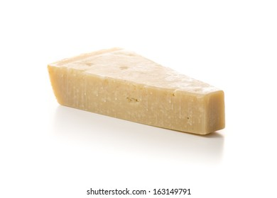 Piece of Parmesan Cheese Isolated on White Background