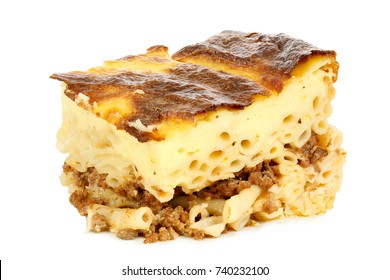 piece of pastitsio isolated on white, traditional greek food