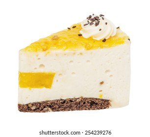 The piece of a pie, cake of a souffle with fruit jelly and cream isolated on the white