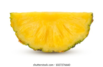 Piece of pineapple with shadows isolated on white background