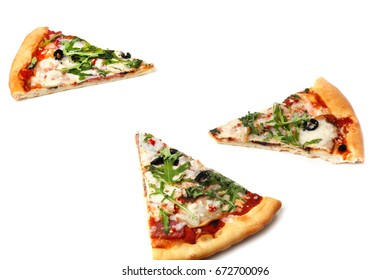Piece of pizza with arugula isolate