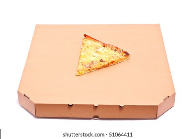 Piece of pizza on box isolated on white. Focus on pizza