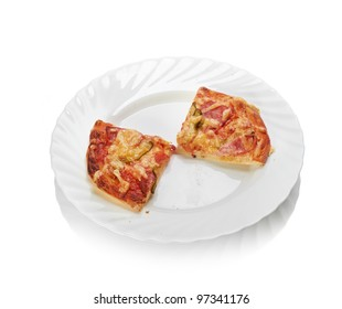 Piece of pizza with salami on white plate