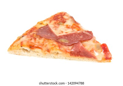 Piece of pizza with sausage isolated on white background