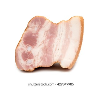 a piece of pork bacon on white background