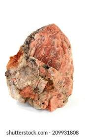 Piece of Potassium Orthoclase Feldspar with enclosures of Granite rock from which is built more than half of crust of the Earth, the striations are clear visible over the Orthoclase (pink) surface